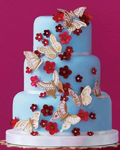 Three tier blue wedding cake decorated with handmade gum paste butterflies