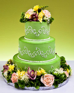 Three tier floral green wedding cake