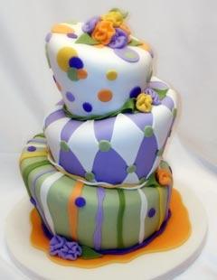 three tier crazy topsy turvy wedding cake
