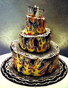 Three tier fun and spookey black gothic wedding cake