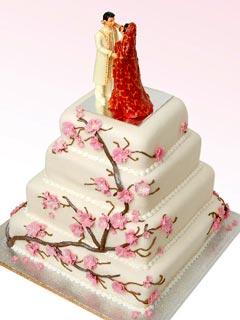 Square four tier Indian theme Cherry Blossom wedding cake