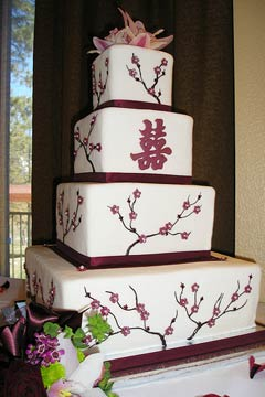 four tier Chinese cherry blossom cake