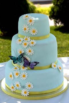 Three tier round light blue fondant wedding cake decorated with white daisy gum paste flowers