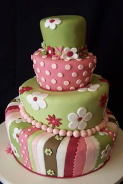 pink and green topsy turvy cakes