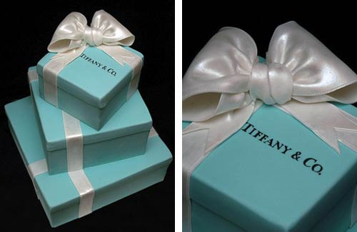 Three tier blue and white square Tiffany box cake made to look like three gift boxes