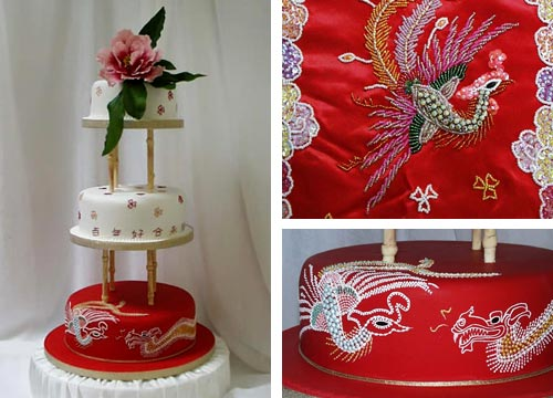 Two white and one red satellite cakes with the dragon and phoenix embroidery on the bottom red tier