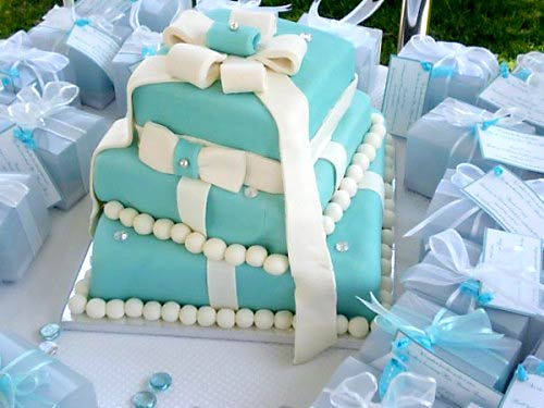 Three tier square Tiffany Blue gift box wedding cake made with matching mini wedding cakes as favors
