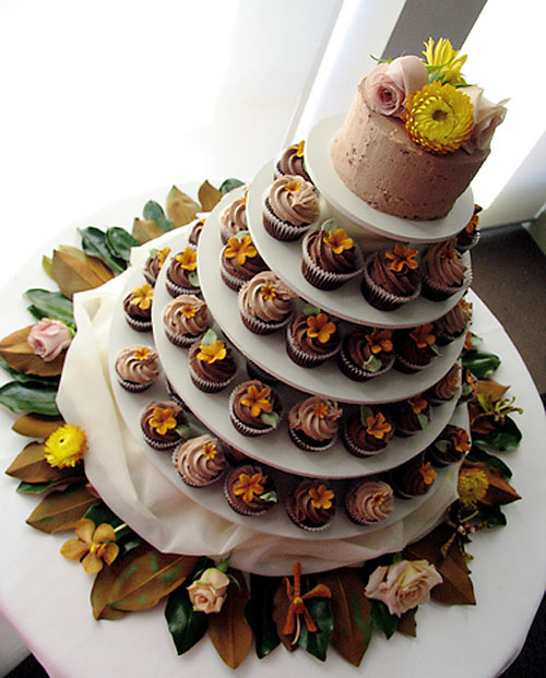 Five tier Autumn theme cupcake wedding cake