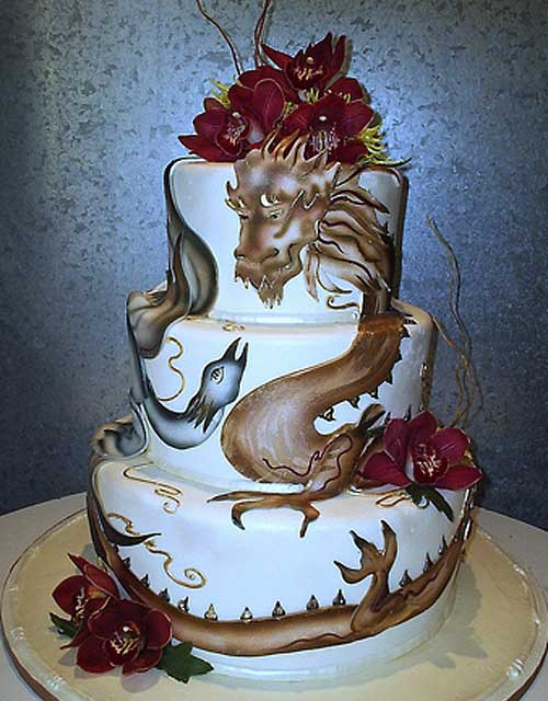 Three tier, hand painted chinese dragon cake/phoenix wedding cake design, all edible fondant decorations