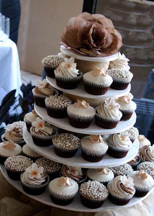 Brown and white Autumn theme, cupcake tiered wedding cake