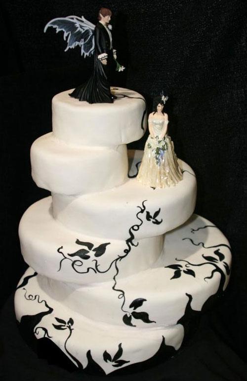 Gothic theme six tier black and white Gothic style wedding cake