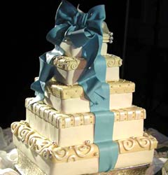 square white and blue wedding cake
