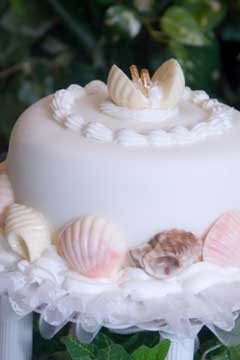 Small white single tier beach wedding cake