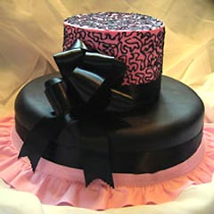 Two tier black and pink wedding cake