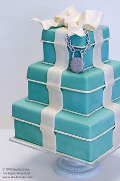 Three tier, square Tiffany Blue wedding cake. Looks just like a present cake or gift box cake