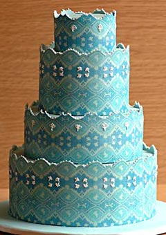 1940's style, four tier blue retro wedding cake. Inspired by the brides blue lace gown