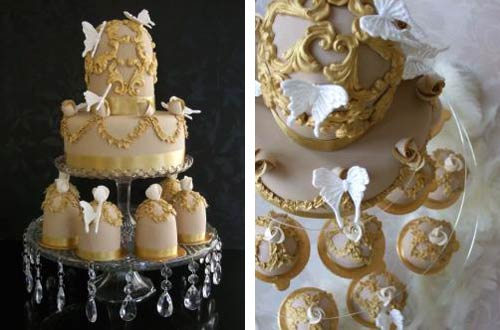 Small regal, gold and ivory bridal shower cake with matching gold mini cake designs. Decorated with white sugar paste butterflies
