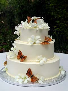 Round three tier white buttercream wedding cake decorated with orange butterflies