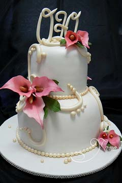Two Tier Fl Wedding Cake Fondant Decorated With Fresh Pink Calla Lilies And Lily Topper Made By Yana Cakes Www Flickr