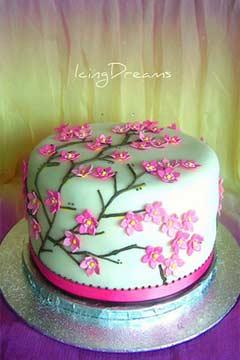 blue cherry blossom cake