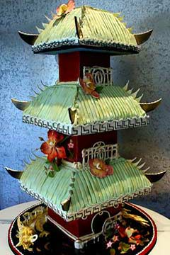 Green Chinese Pagoda three tiered wedding cake. The roofs are the three level cakes