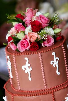 chocolate buttercream wedding cake filled with traditional chocolate ganache filling