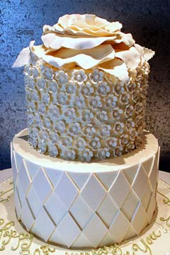 Contemporary two tier, ivory wedding cake with large handcrafted rose contemporary cake top intricately made with fondant