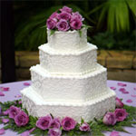 hexagon floral wedding cake