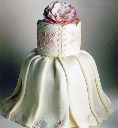 Gorgeous White And Pink Two Tier Bridal Gown Cake Decorated With Embriodery Lace Work