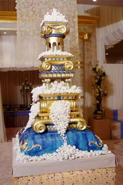 An extravagant, custom wedding cake.