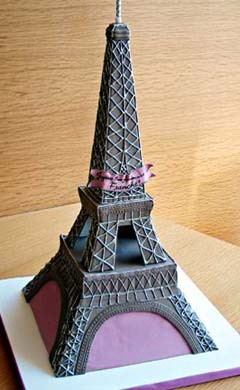 Artistic Paris inspired Eiffel Tower wedding cake