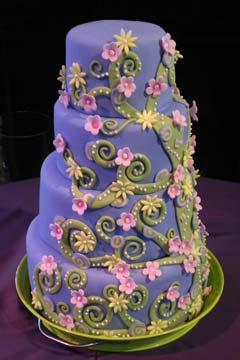 Unusual psychedelic green and purple wedding cake