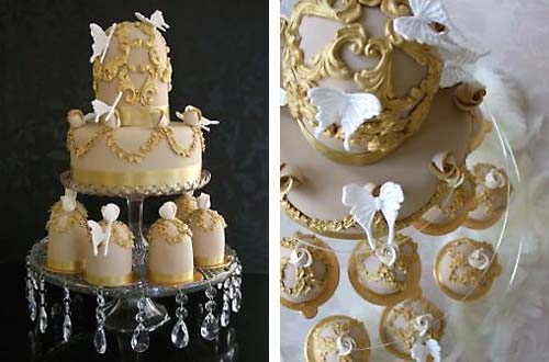 Round two tier gold and beige brocade pattern wedding cake with matching mini wedding cakes