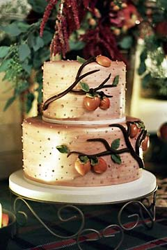 Unusual Autumn or Fall themed golden wedding cake