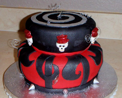 Two tier red and black Gothic style wedding cake