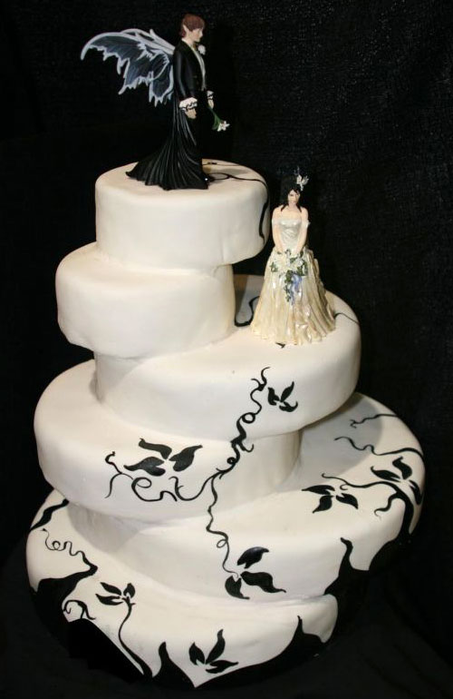 Gothic theme six tier black and white Gothic style wedding cake