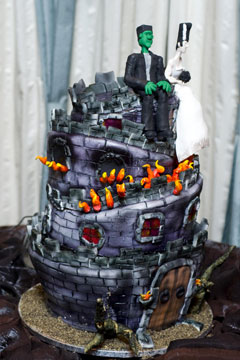 Three tier Frankenstein and his bride wedding cake