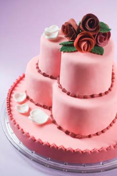 pink three tier heart shaped wedding cakes
