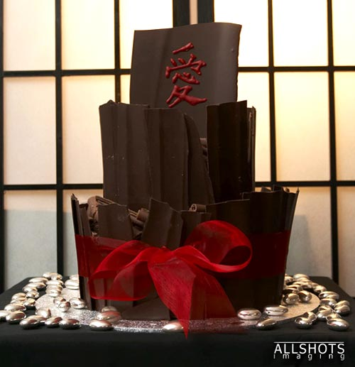 Two tier Japanese chocolate slab wedding cake