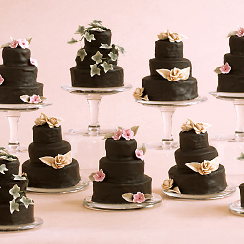 3 tier chocolate miniature wedding cakes