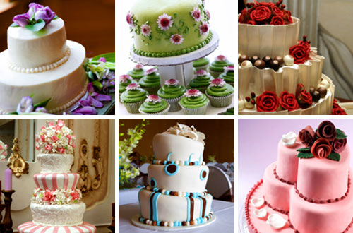 six different wedding cake shapes and wedding cake designs