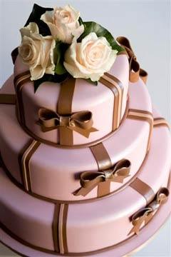 Retro three tier white wedding cake