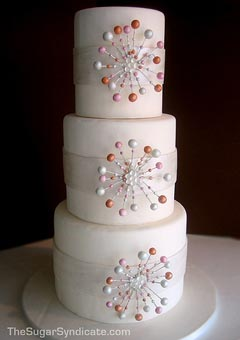 Retro three tier white wedding cake
