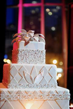 three tier square art deco wedding cake