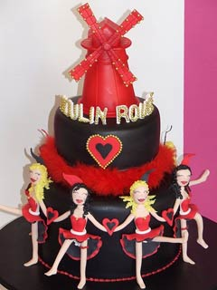 Two tier moulin rouge chocolate wedding cake