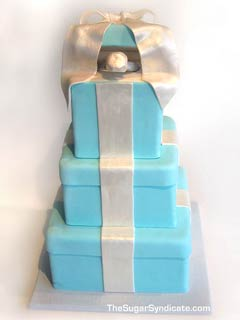 Blue Tiffany Ring gift box cake