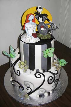 Two tier, nightmare before christmas wedding cake