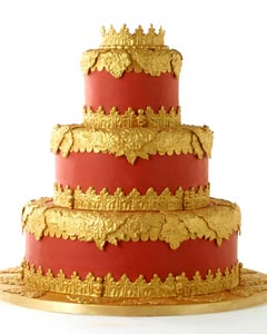 Amazing four tier orange and gold wedding cake