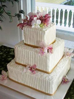 Orchid Wedding Cake Designs Three Tier Round Buttercream Beautifully Decorated