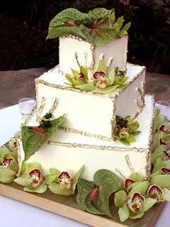Beautiful square three tier Orchid wedding cake